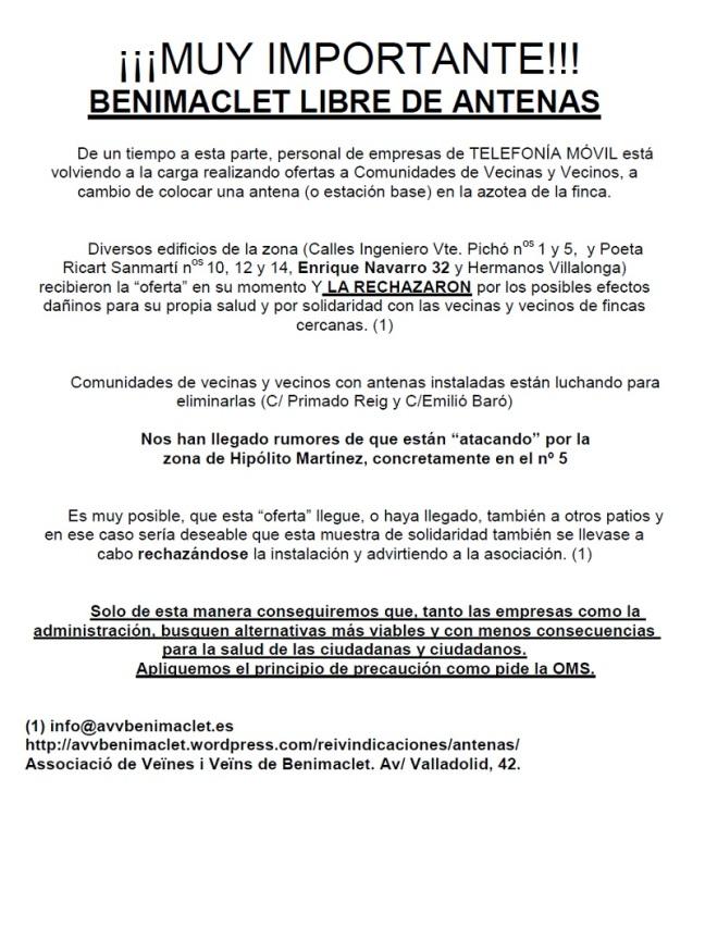 MUY IMPORTANTE BENIMACLET LIBRE DE ANTENAS