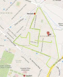 mapa benimaclet - dia sense cotxe
